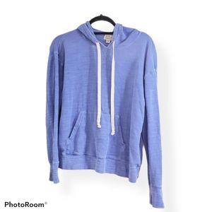 J Crew Vintage Fleece Blue Hoodie Pouch M